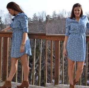Old Navy Chambray shirt dress with white flowers
